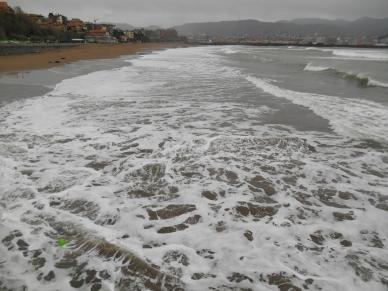 White foam at Ereaga Beach