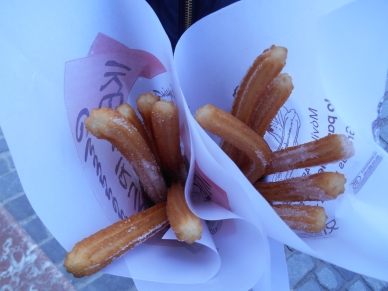 Two bags of churros warm and sweet
