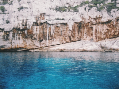Calanque and turquoise blue water