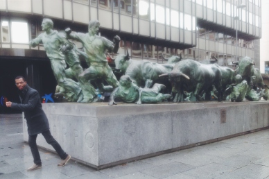 Running of the bulls statue
