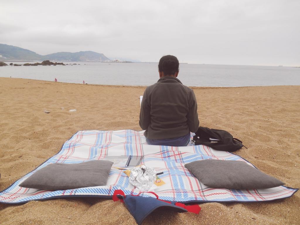 beach studying